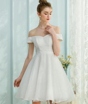 Dressystar Diseño Simple Brillante Vestido De Fiesta Blanco Hombro Corto Vestido De Novia 2018 Buy Vestido De Novia Cortovestido De Novia Corto