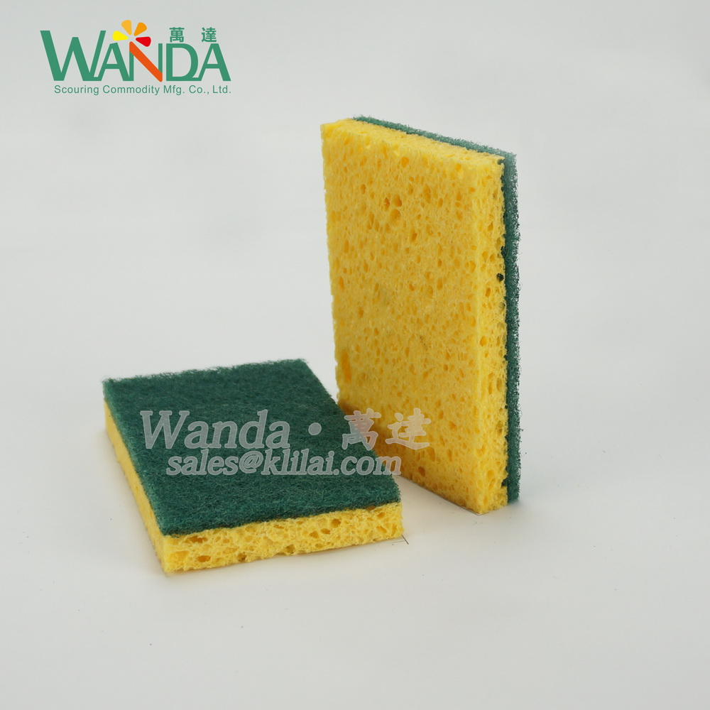 Cellulose Cleaning Sponge Scouring Pad Sponge scourer with heavy duty scouring pad