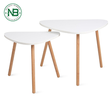 Set of 2 Bamboo Nesting Coffee Side Scandinavian Tables for Home and Office