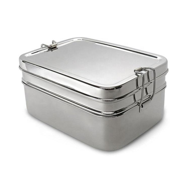 Üç bir Bento istiflenebilir paslanmaz çelik öğle yemeği kutusu küçük kutu