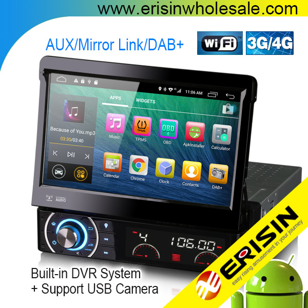 "Erisin ES5790U 7"" Android 6.0 Car DVD player Built-in WiFi Modem and Support Digital TV Box input"