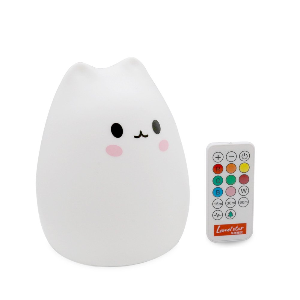ANTEQI Carton Night Light Silicone Remote Timer Cute Cat Lamp Tap Control Lamp for Kids Bedroom Nursery Baby Wireless Remote Timer, USB Charge, Warm /& White Light, 9 Color Breathing