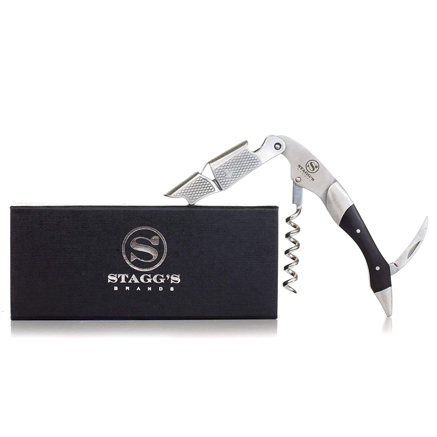 Premium Double Hinged Waiter's Wine Corkscrew by Stagg's Brands- Stainless Steel Wine Key with Wood Inlay- Perfect Wine Opener for Waiters, Sommeliers and Bartenders (Black Wood)