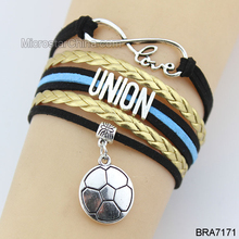 New Style Handmade Endless Love Letters soccer Charm Leather Bracelet for Woman Girl Gifts