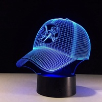 7 colors changing MLB New York Yankees Light 3D Baseball Hat Cap Illusion LED Night Light Table Lamp Decor GIft