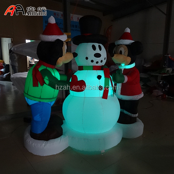 christmas decoration inflatable mickey and minnie mouse with snowman