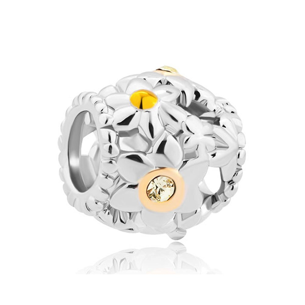 Pugster Flower Charms Jewelry Yellow Crystal Charms Beads Fit Pandora Charms Bracelet