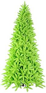 Vickerman Pre-Lit Slim Lime Green Ashley Spruce Christmas Tree with Clear and Green Lights, 7.5'
