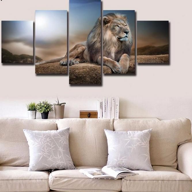 HD Gedrukt Dieren Leeuw Groep Canvas Schilderij Home Decor Muur ...