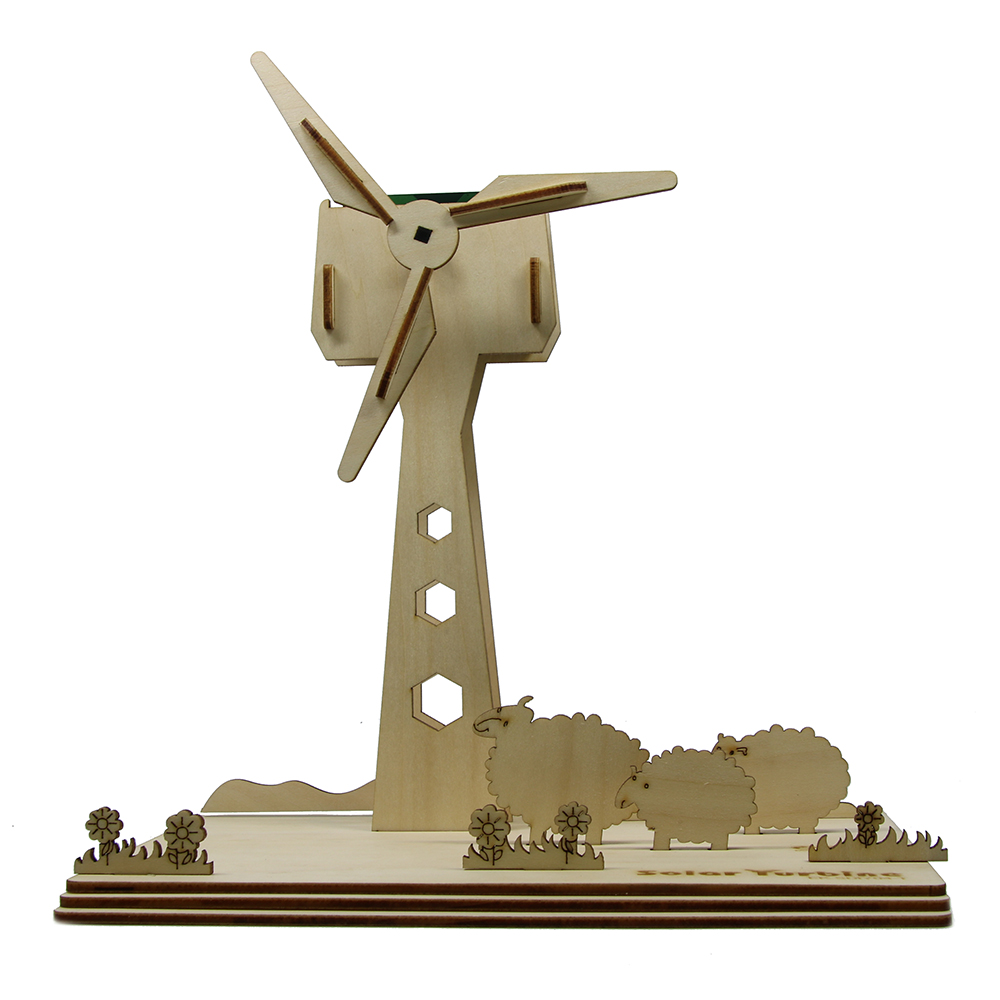 China Supplier Eco-friendly Educational DIY Toy Solar Power Turbine Windmill 3D Wood Puzzle DIY Assemble Toys Table Decorative