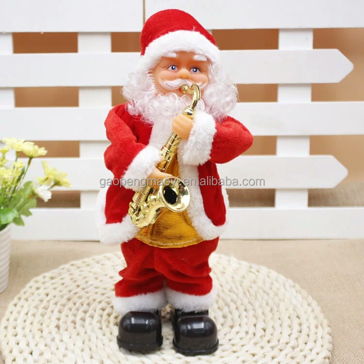 2017 Christmas gift play musical dancing Santa Claus for gifts plush doll promotion