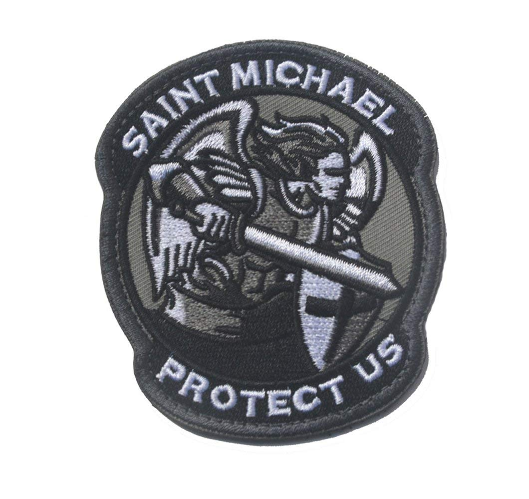 e81592e3707 Get Quotations · Saint Michael Modern Morale Patch Tactical Military Army  Embroidered Sew on Tags Operator Patches with Hook
