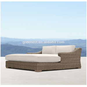 New design luxury outdoor poly rattan double beach bed
