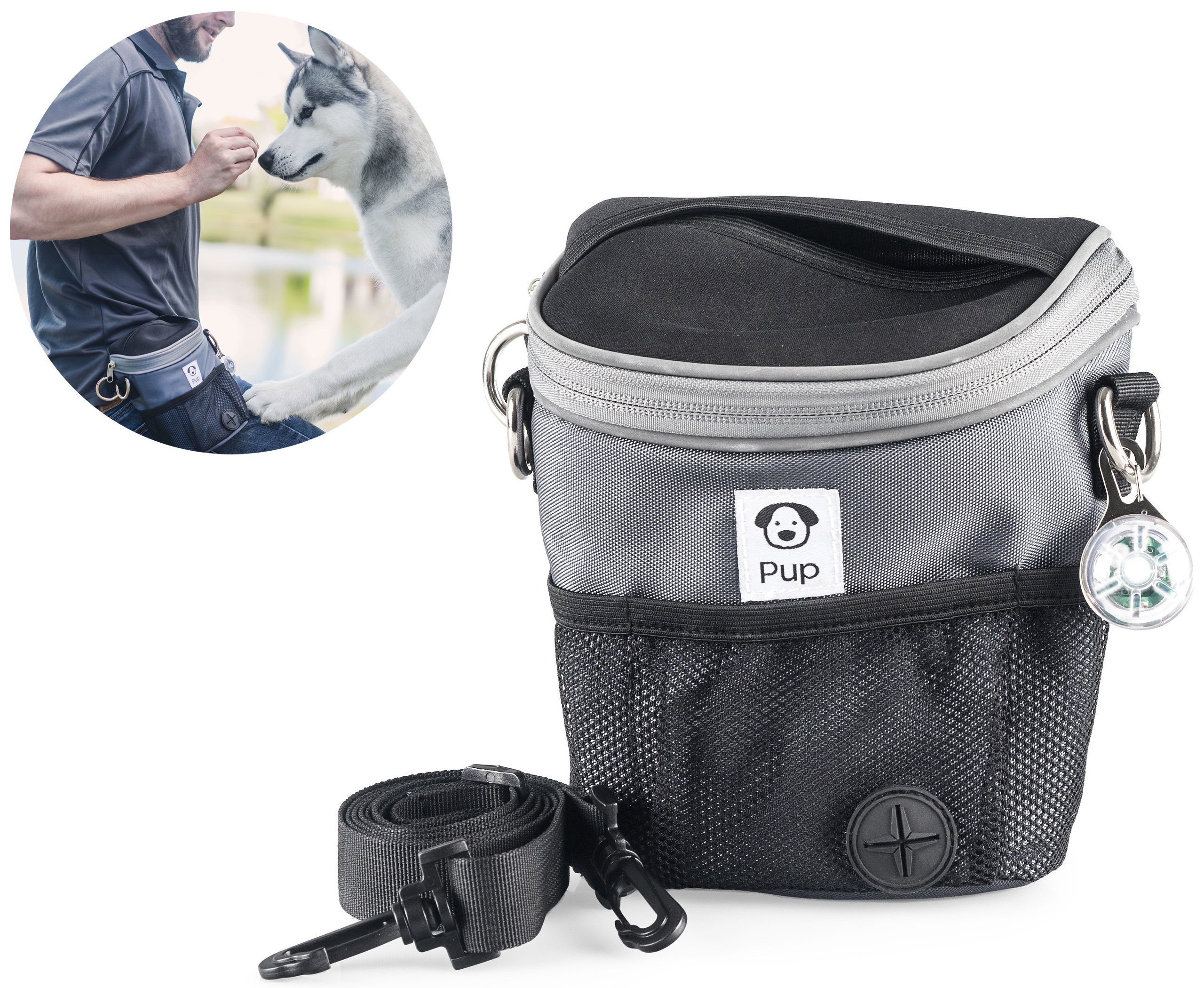 22294e0bf8 Get Quotations · Large Reflective Dog Walking Training Treat Bag w  Clicker  Trainer and Safety Collar Light for