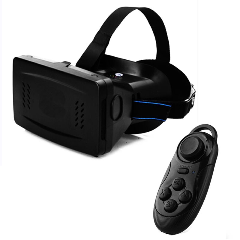 RITECH II Virtual Reality 3D Glasses Oculus Rift Head Mount VR 3D Magnet Game Movie for 3.5-6 inch + Bluetooth Remote Control