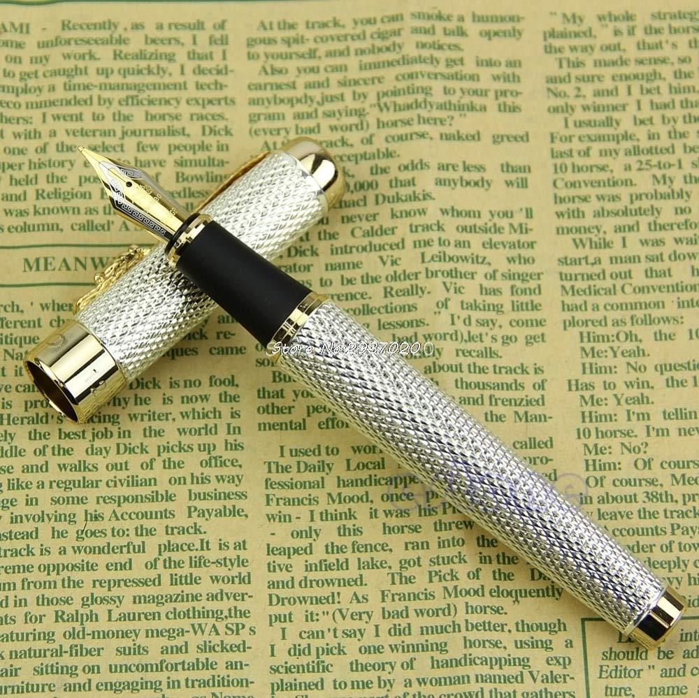 AZSNOW Noblest Fountain Writing Pen Jinhao Dragon 1200 18KGP Medium Nib Golden Silver D14