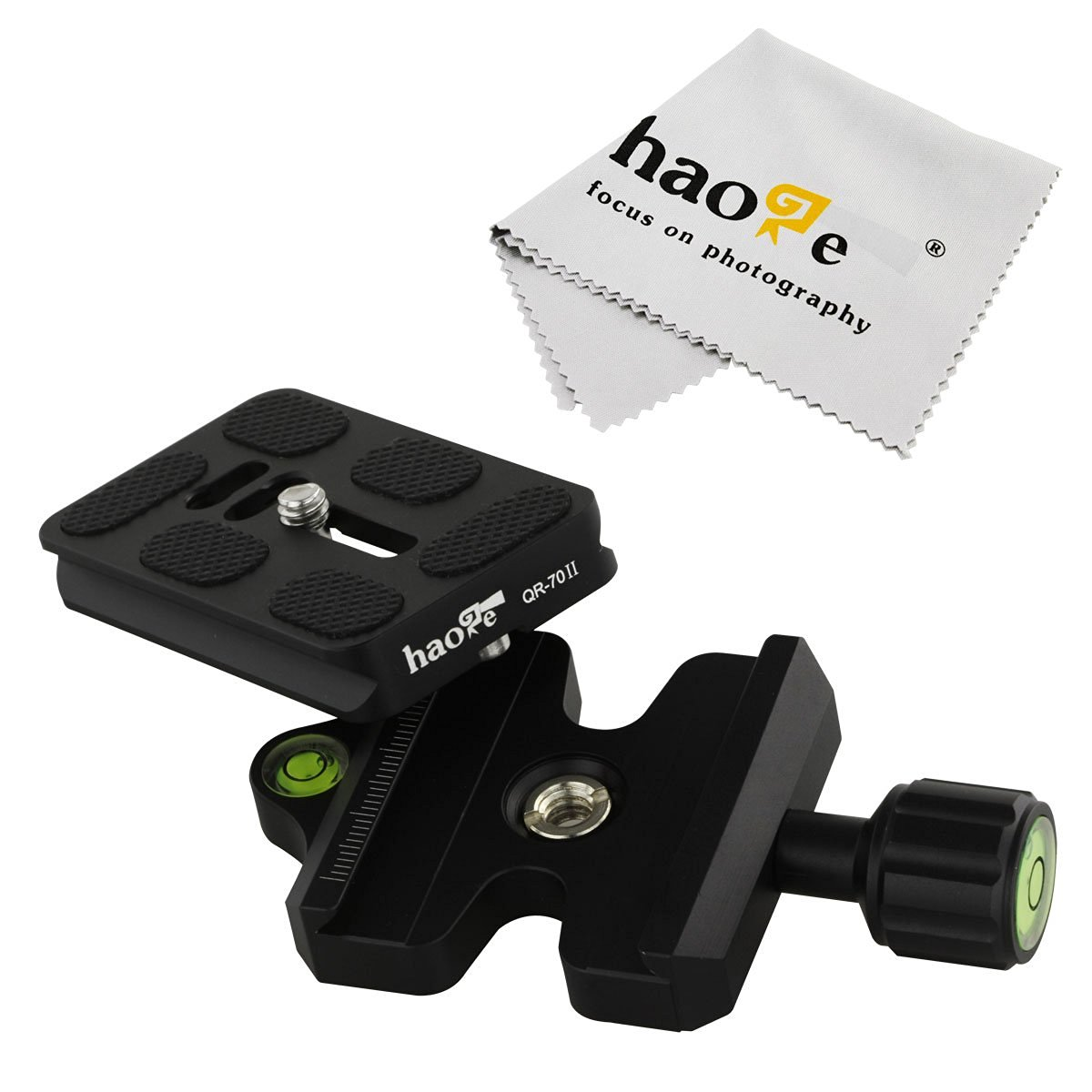 Haoge CP-50II 50mm QR Quick Release Clamp Adapter with QR-70II 70mm Plate for Camera Tripod Monopod Ball Head Compatible with Arca-Swiss Standard