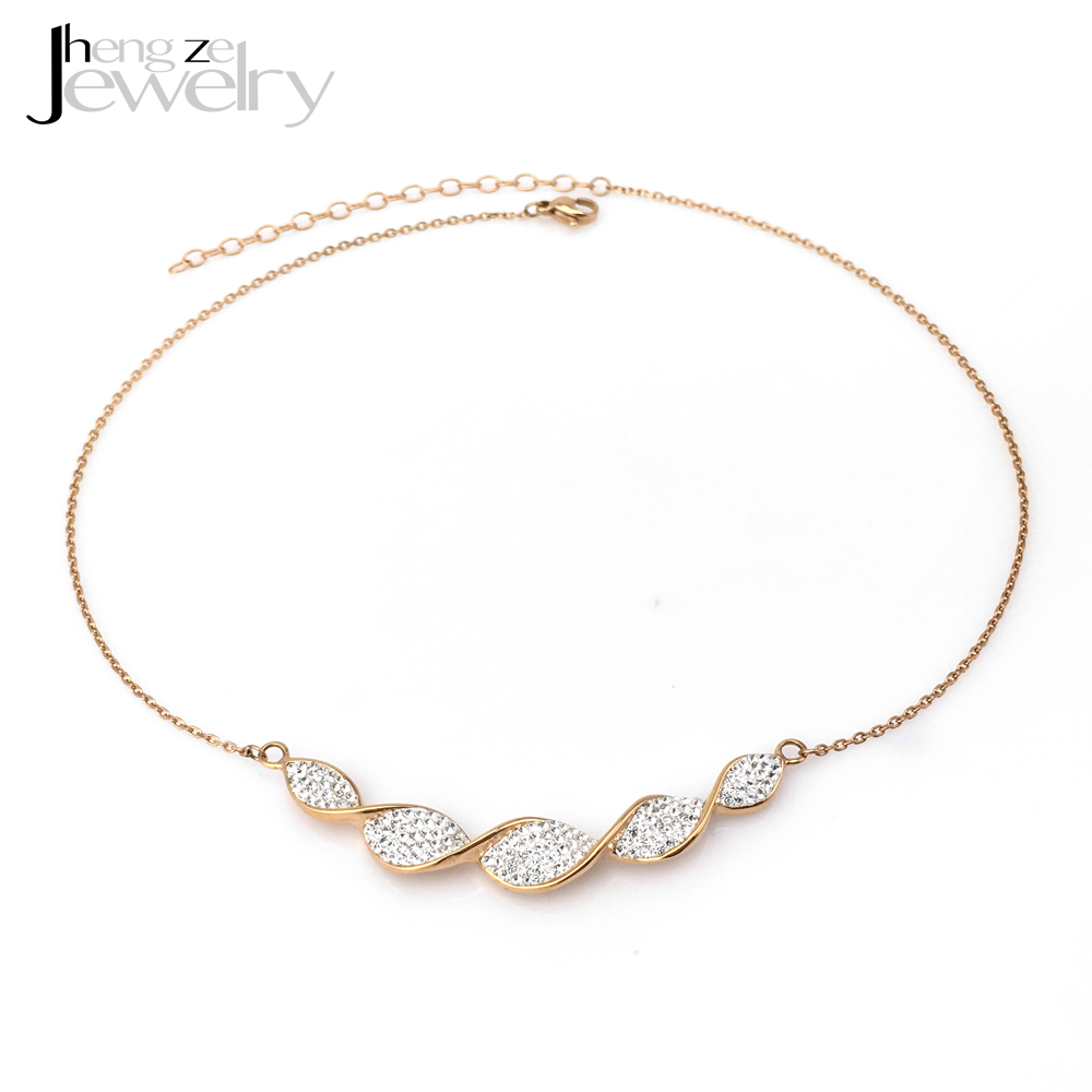 316l Stainless Steel Women Rhinestone Crystal Rose Gold Plated Necklace Choker