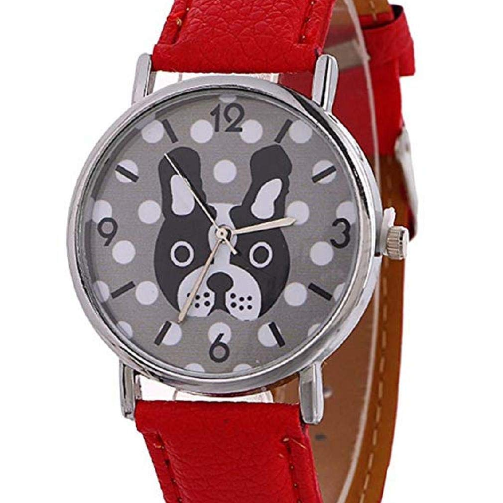 Women Quartz Watches,Windoson Unique Analog Lady Watches Cartoon Dog Female Watches Casual Wrist Watches for Women Comfortable PU Leather Watch (red)