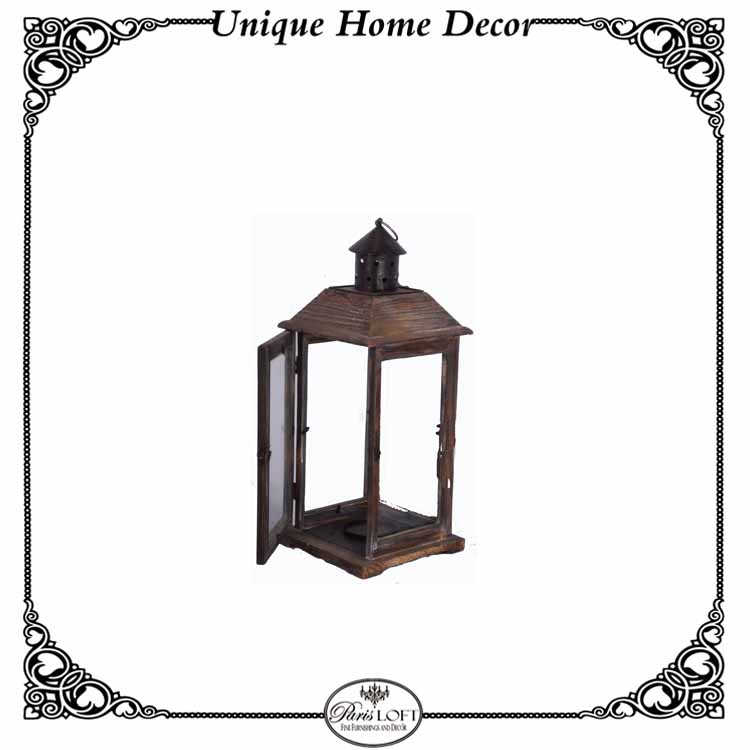 Antique Wood And Metal Outdoor Wedding Lantern Candle Holder With Glass
