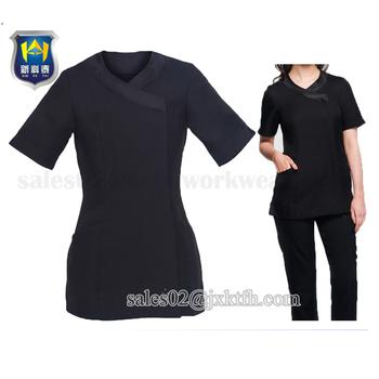 Cross beauty spa tunic hairdressing massage therapist for Spa uniform alibaba