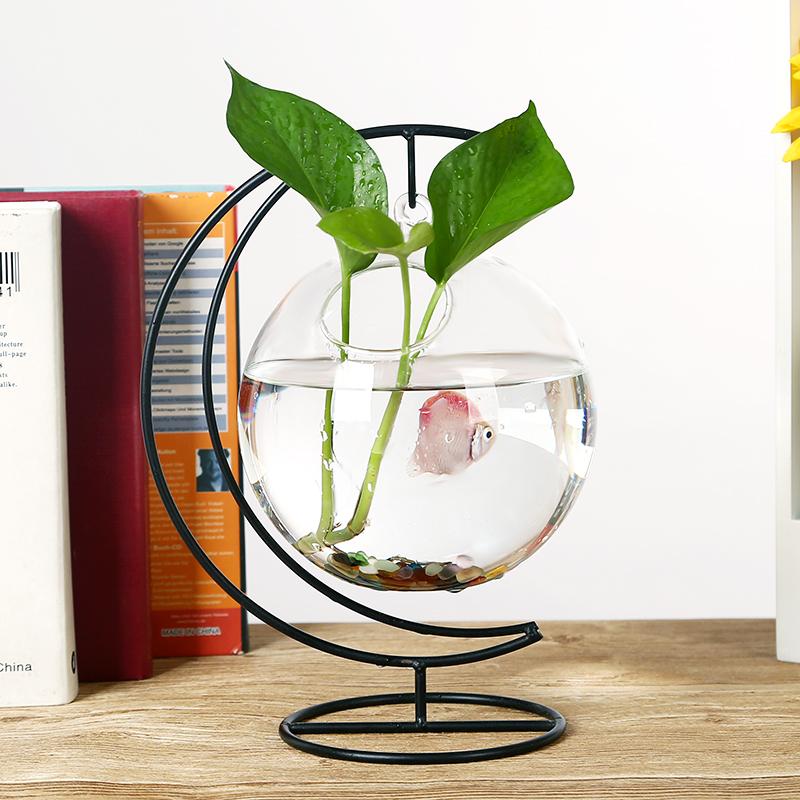 china venta caliente soplado florero de cristal con fondo redondo terrario de vidrio pecera