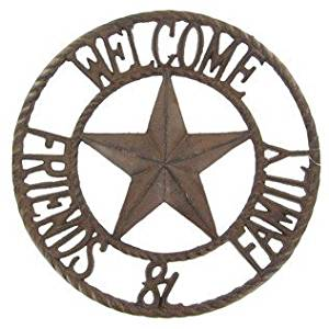 """ABC Products"" - Heavy Cast Iron ~ Circular Welcome Sign - With A Star In The Center - With The Word ""Welcome"" At The Top - ""Family And Friends"" At The Bottom - Old Country Design - Wall Hanging Sign - Indoor or Outdoor Use (Bronze Rustic Finish)"