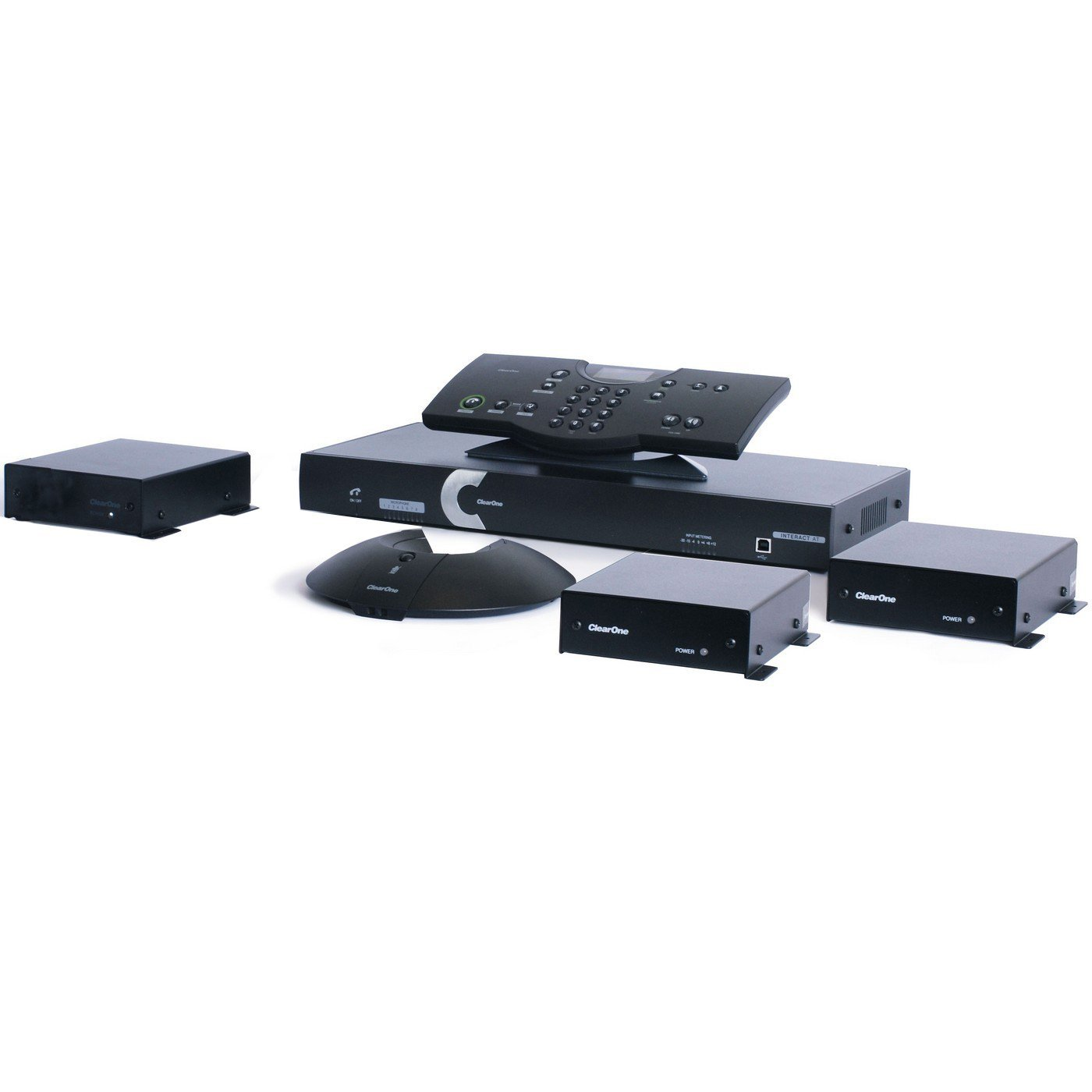 ClearOne Interact AT Bundle K | Complete Audio Conferencing Solution Two Microphone Box Wireless Controller 930-154-501