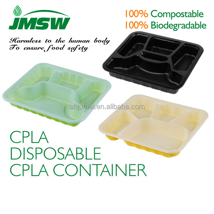 5 Compartiment Lunchbox Wegwerp Plastic Voedsel Container