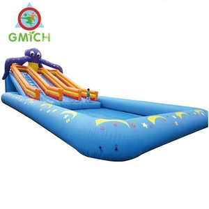 new design inflatable adult swimming pool,ocean color inflatable bouncer slide water game, outdoor bouncy and water