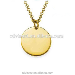 hot sale gift custom gold plated coin metal jewelry tags engraved personalized name necklace