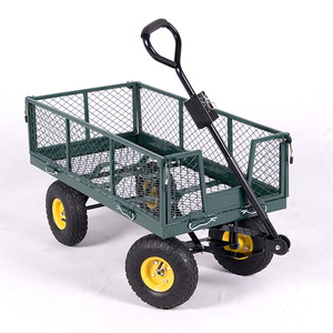 New 660 Lbs Heavy Duty Steel Mesh Utility Wagon Yard Garden Cart