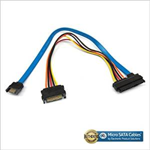 SAS 29pin Female to 15 Pin SATA Male with 7 Pin SATA Male 12 Inch Cable