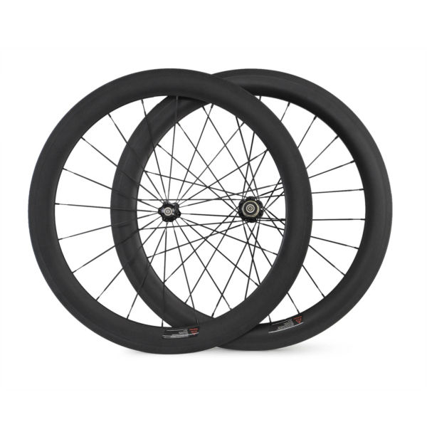 Simple and cheap 700C 60mm carbon road bike clincher wheelset with 23mm width