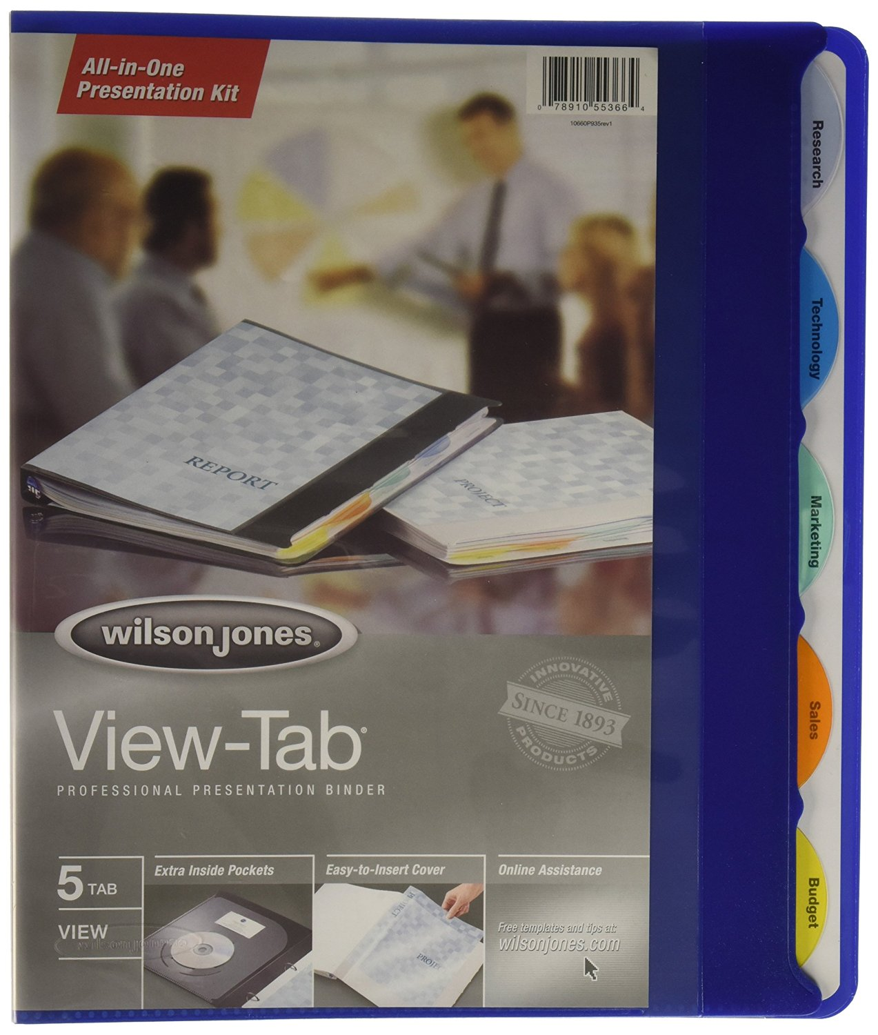 Wilson Jones View-Tab Round Ring Presentation Binder, 0.625 Inch Capacity, 5 Tab Style, Letter Size, Blue (W55366)