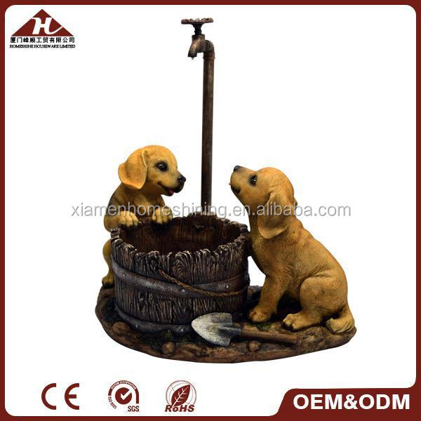 garden water pump dog planter, garden resin dog flowerpot