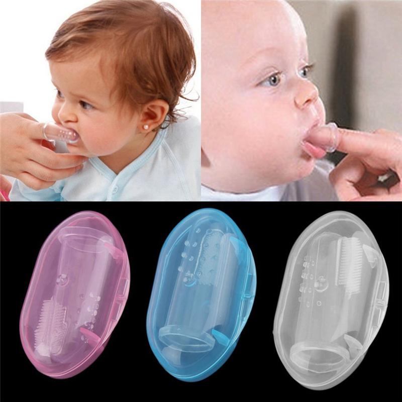 Baby Zachte Vloeibare Siliconen Vinger Tandenborstel met doos
