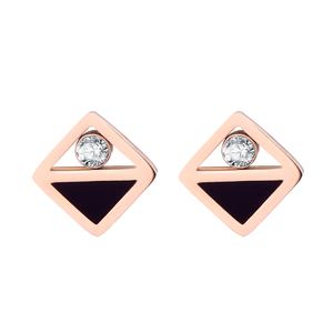 Stainless Steel Geometric Crystal Rose Gold Stud Earrings