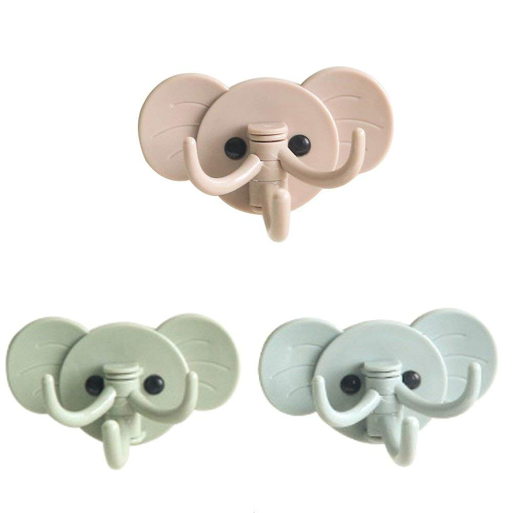 1pc Cute Elephant Plastic Decorative Key Holder Wall Shelf Rack Hook Home Storage Organizer Bathroom Kitchen Tool Accessories