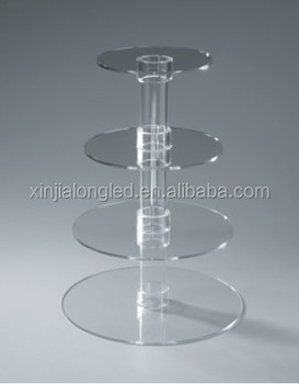 Hot Sale 4 Tier Round Acrylic Wedding Cake Stand Clear Cupcake Display Perspex