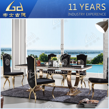 Wholesale New Designs Marble Top Stainless Steel Dining Table For Home Hotel Restaurant