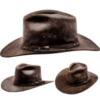Genuine Leather snapback Western Rancher Hat MANY SIZES Cowboy Cattleman  Outback Vintage SC5461 c1b2c0029bf