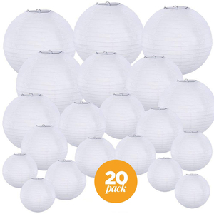 "20pcs per set white wedding decorative Paper Lampshade sizes 4"", 6"", 8"", 10"" and 12"" Lantern for Amazon Seller"