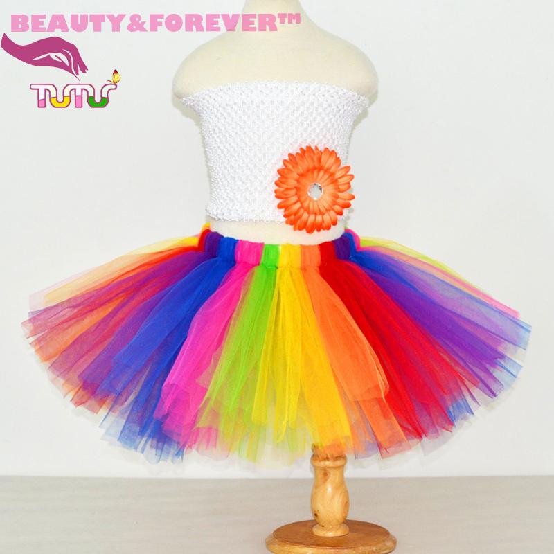 044a96b3d3 Fluffy rainbow tulle tutu colorful cheap skirts dancing birthday party girls  tutu skirt