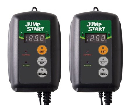 Jump Start MTPRTC Digital Controller Thermostat For Heat Mats, Seed Germination, Reptiles and Brewing (2-Pack)