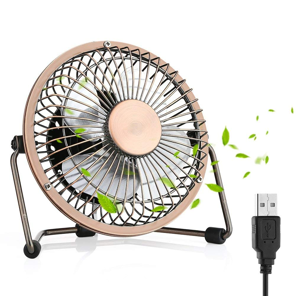 USB Fan, Desktop Fan Mini USB Fan Table Desk Personal Fan, Mini Table Fan Quiet Operation Desk Fan Suitable for Home Office Travelling Household, 4 inch Bronze