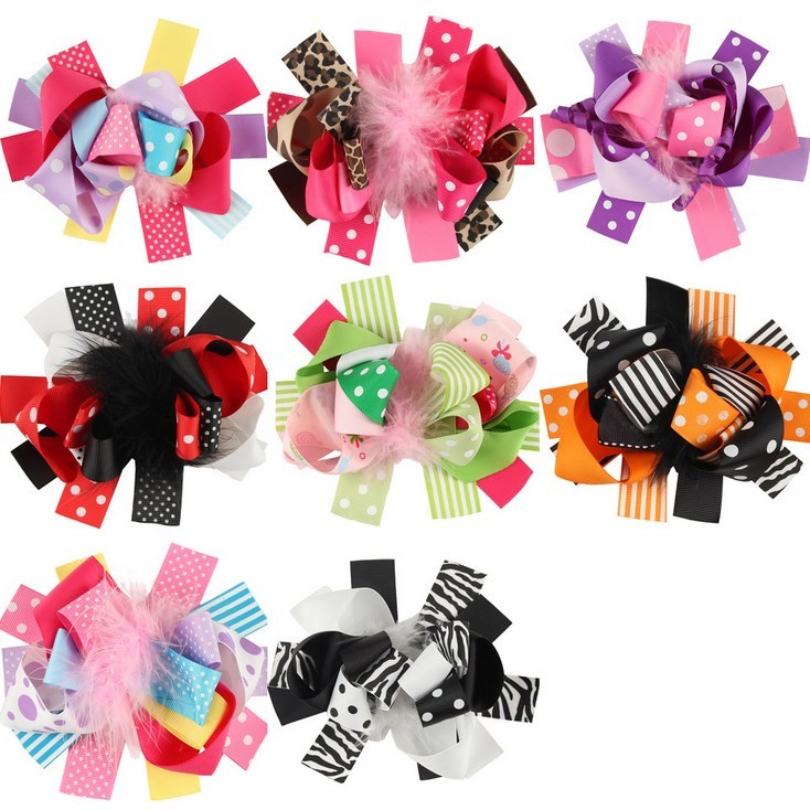 Baby Girls Boutique Bow Clips Kids girls Birthday Cute Hairpin accessories Pigtail oversize Bow Feather Hair Clip