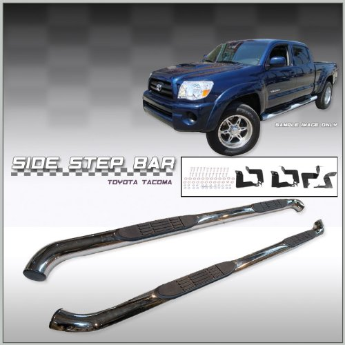 Toyota Tacoma Double Cab Side Step Nerf Bars- Stainless Steel - Fits 2005, 2006, 2007, 2008, 2009, 2010, 2011, 2012, 2013, 2014 and 2015 Tacoma Double Cab