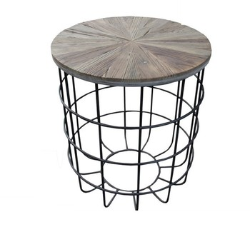 Antique Style Mdf Top Iron Wire Base