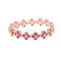 Fashion ruby cz pave flower shape band finger rings with rose gold plated design for wedding luxury ring